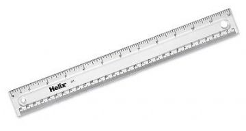 30cm/12 Inch CLEAR PLASTIC RULERS - SINGLES OR PACK of 10 by HELIX
